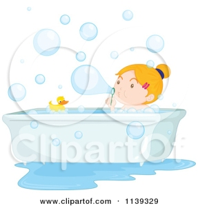 1139329-Cartoon-Of-A-Girl-Blowing-Bubbles-In-The-Bath-Tub-Royalty-Free-Vector-Clipart