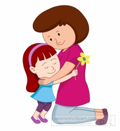 Happy Mothers Day Daughter Giving Flower And Hug To Mother Clipart