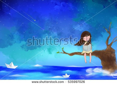 stock-photo-illustration-water-color-drawing-of-lonely-girl-sitting-on-tree-branches-reading-book-over-starry-535997026