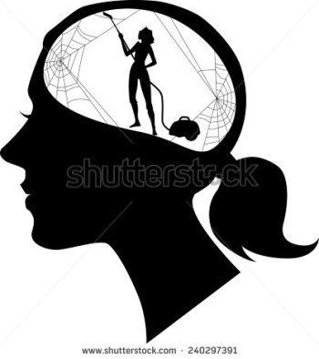 stock-vector-black-female-profile-with-a-silhouette-of-woman-cleaning-cobweb-vector-illustration-240297391